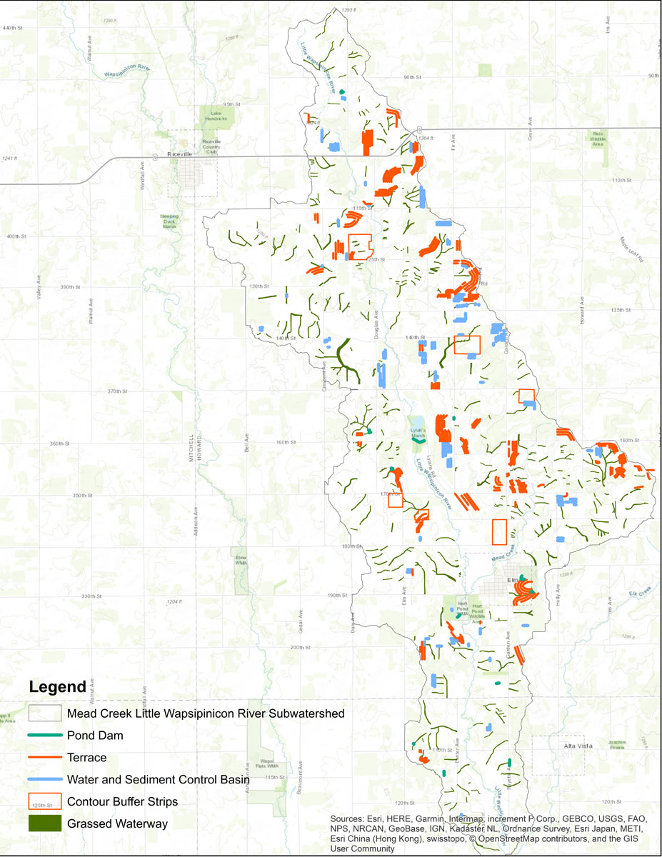 Iowa BMP Existing Practice Map for Mead Creek-Little Wapsipinicon River Watershed