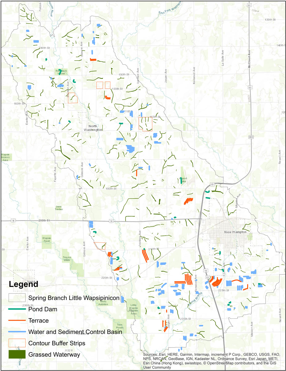 Iowa BMP Existing Practice Map for Spring Branch-Little Wapsipinicon River Watershed