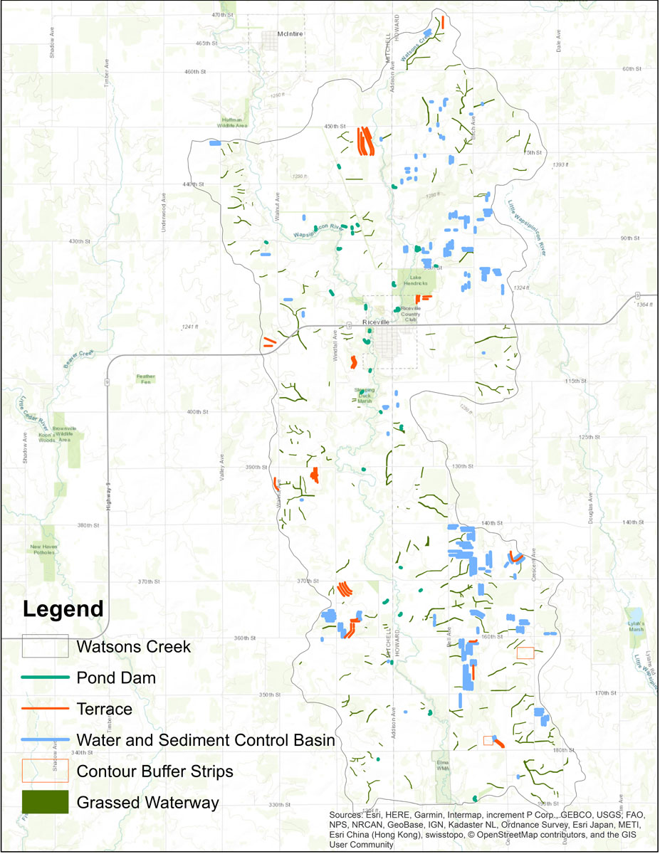 Iowa BMP Existing Practice Map for Watsons Creek-Wapsipinicon River Watershed