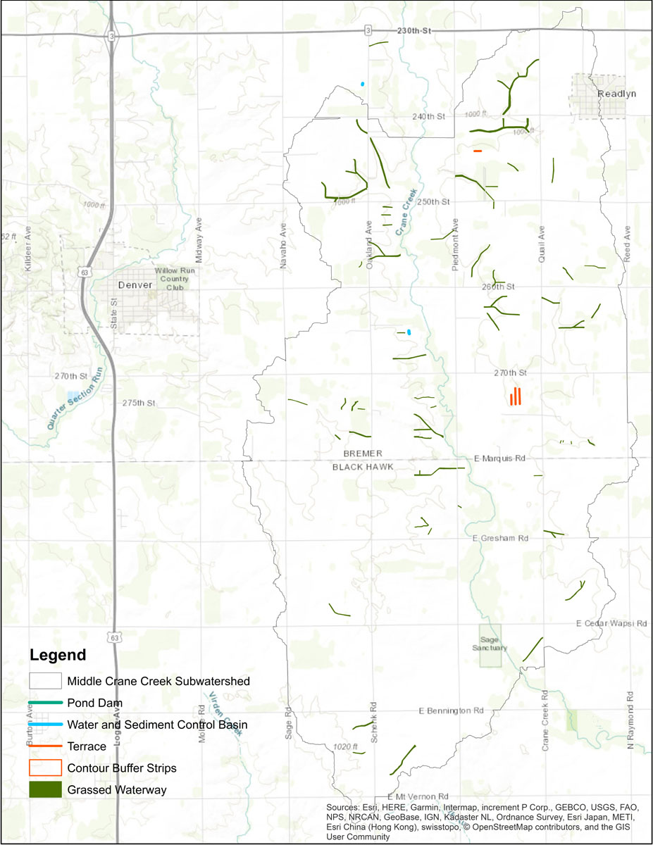 Iowa BMP Existing Practice Map for Middle Crane Creek Watershed