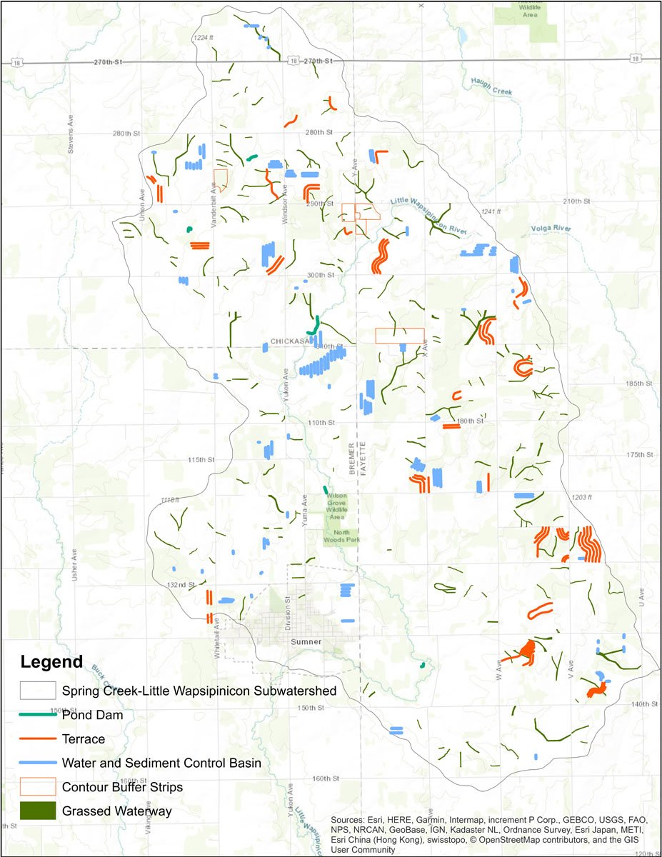 Iowa BMP Existing Practice Map for Spring Creek-Little Wapsipinicon River Watershed
