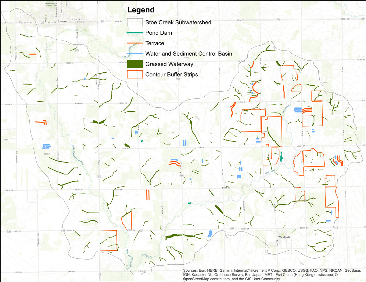 Iowa BMP Existing Practice Map for Stoe Creek-Little Wapsipinicon River Watershed