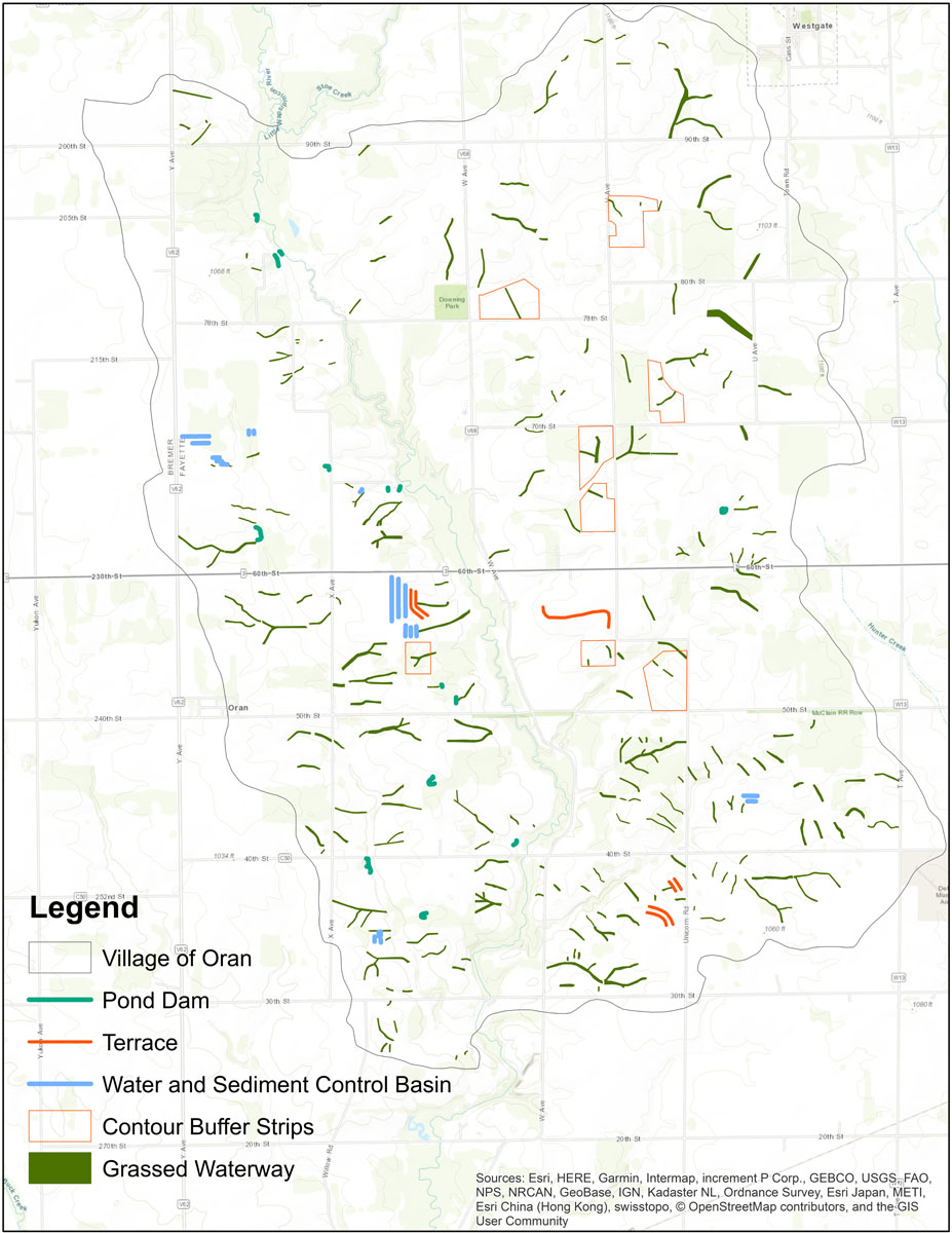 Iowa BMP Existing Practice Map for Village of Oran-Little Wapsipinicon RIver Watershed