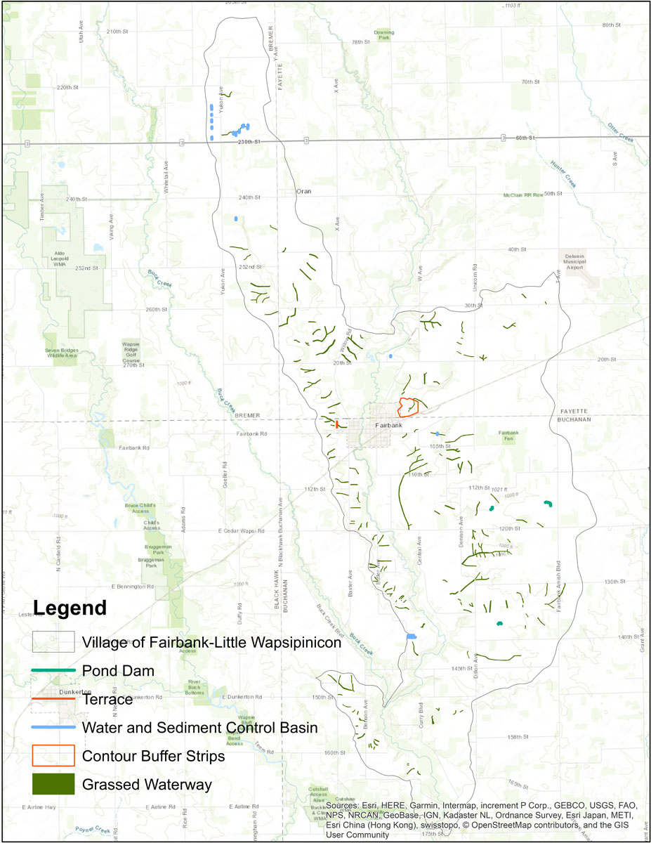 Iowa BMP Existing Practice Map for Village of Fairbank-Little Wapsipinicon Watershed
