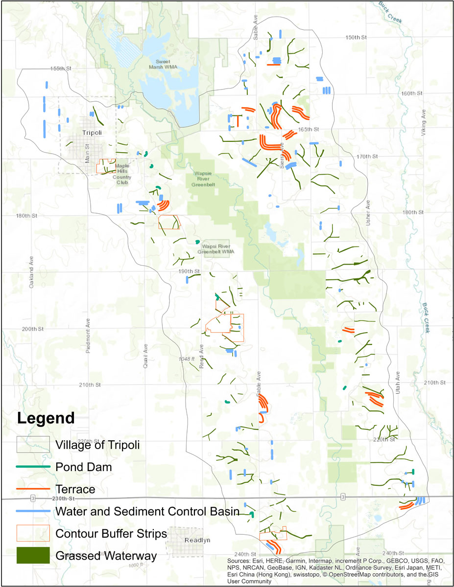 Iowa BMP Existing Practice Map for Village of Tripoli-Wapsipinicon River Watershed