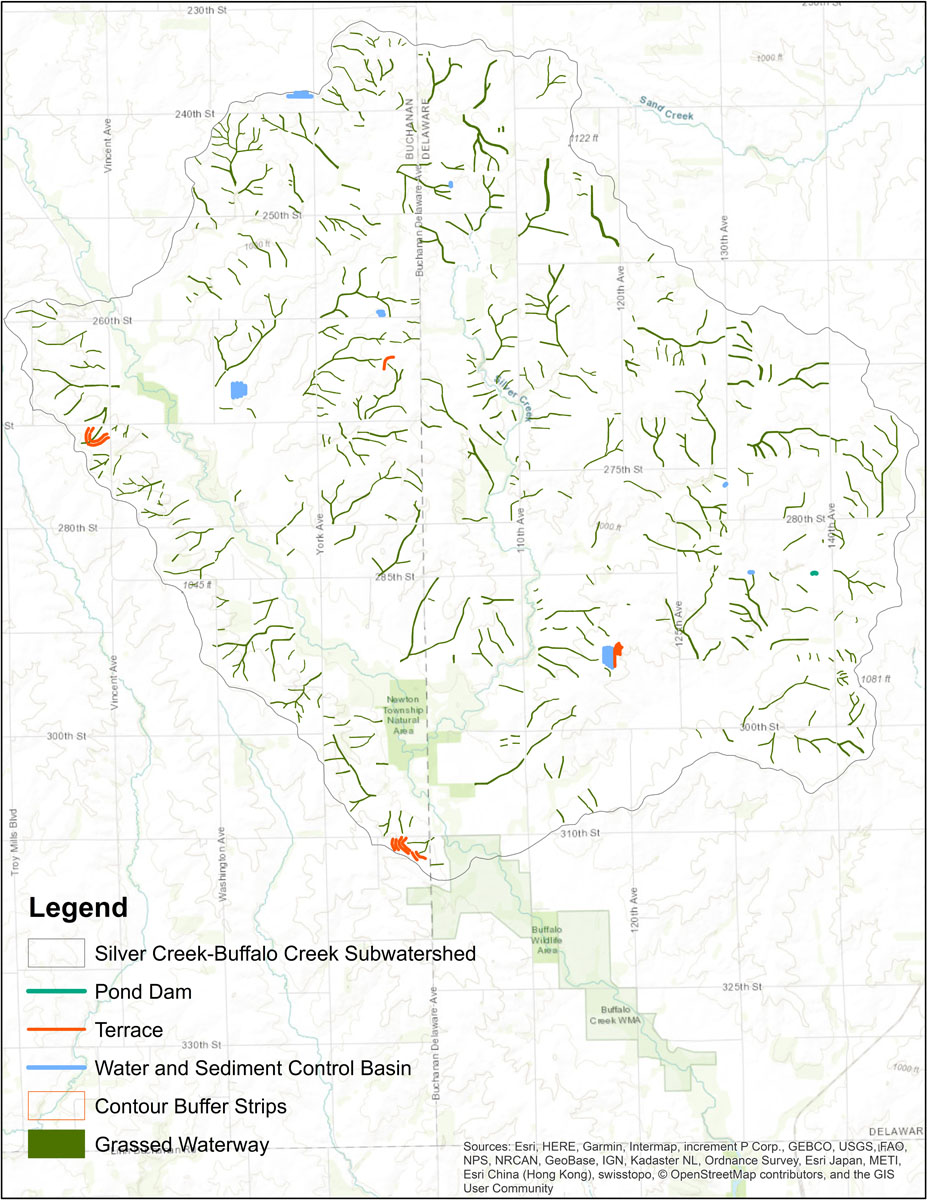 Iowa BMP Existing Practice Map for Sand Creek Watershed