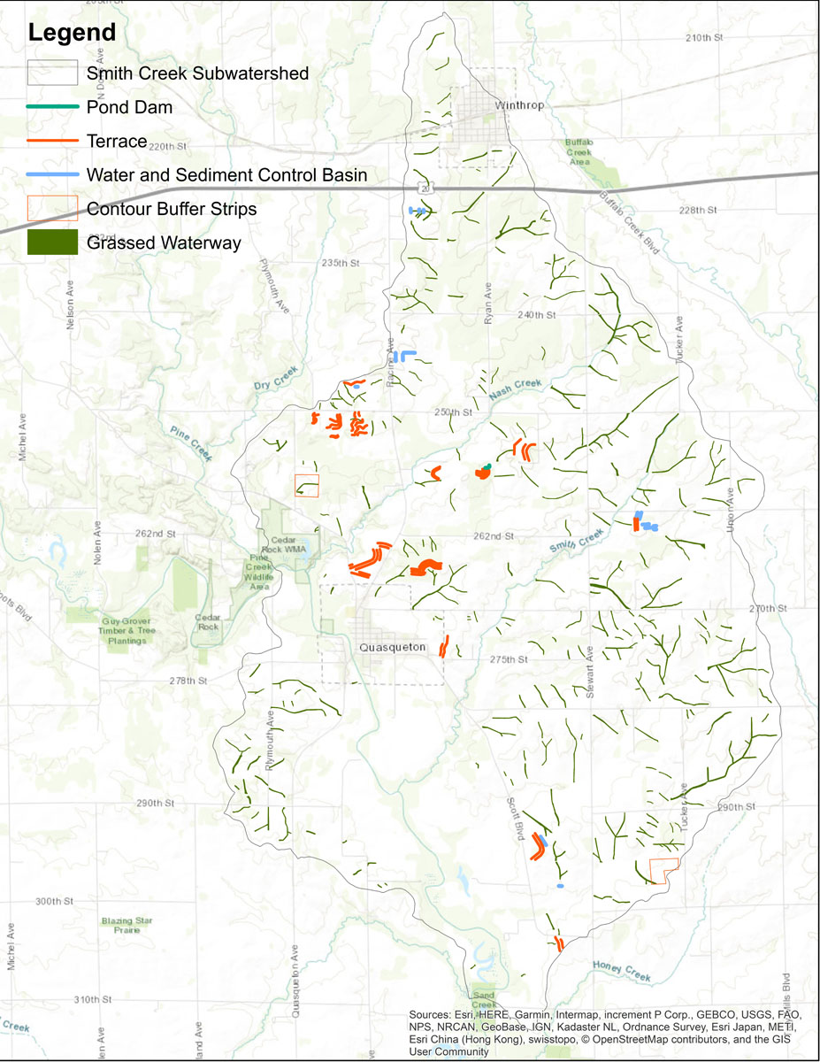 Iowa BMP Existing Practice Map for Smith Creek-Wapsipinicon River Watershed
