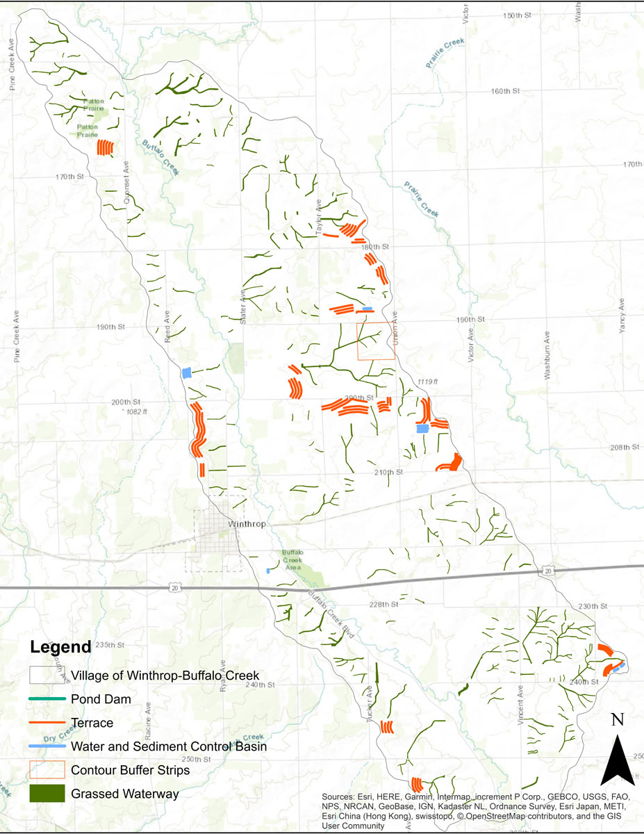 Iowa BMP Existing Practice Map for Village of Winthrop-Buffalo Creek Watershed